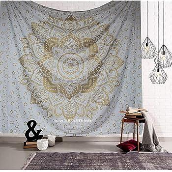 Raajsee - Tapiz de pared indio psicodélico con mandala, de color dorado metalizado y blanco, estilo bohemio y hippie, tamaño grande, hecho de algodón: Amazon.es: Hogar
