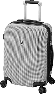 LONDON FOG Cambridge Hardside Expandable Luggage with Spinner Wheels, Black White Houndstooth, Carry-On 20-Inch