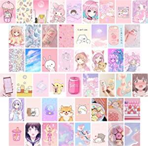 50pcs Kawai Anime Aesthetic Picture Wall Collage Kit, Pink Cartoon Assembled Print Card Set, Dorm Photo Poster Display, Trendy Style Art Print Photo Collection, Sweet Room Cute Decor For Teen Girls