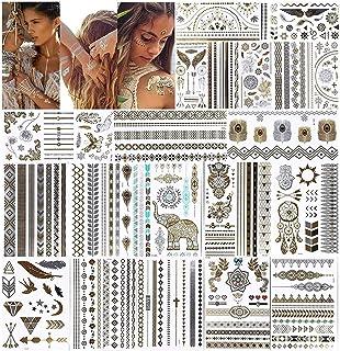 URAQT metallic tatoeages, 20 vellen tijdelijk tattoo-papier met 200 ontwerpen, waterdicht verwijderbaar goud zilver nep si...