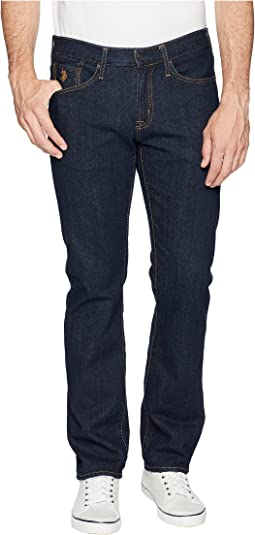 Slim Straight Five-Pocket Denim Jeans in Blue