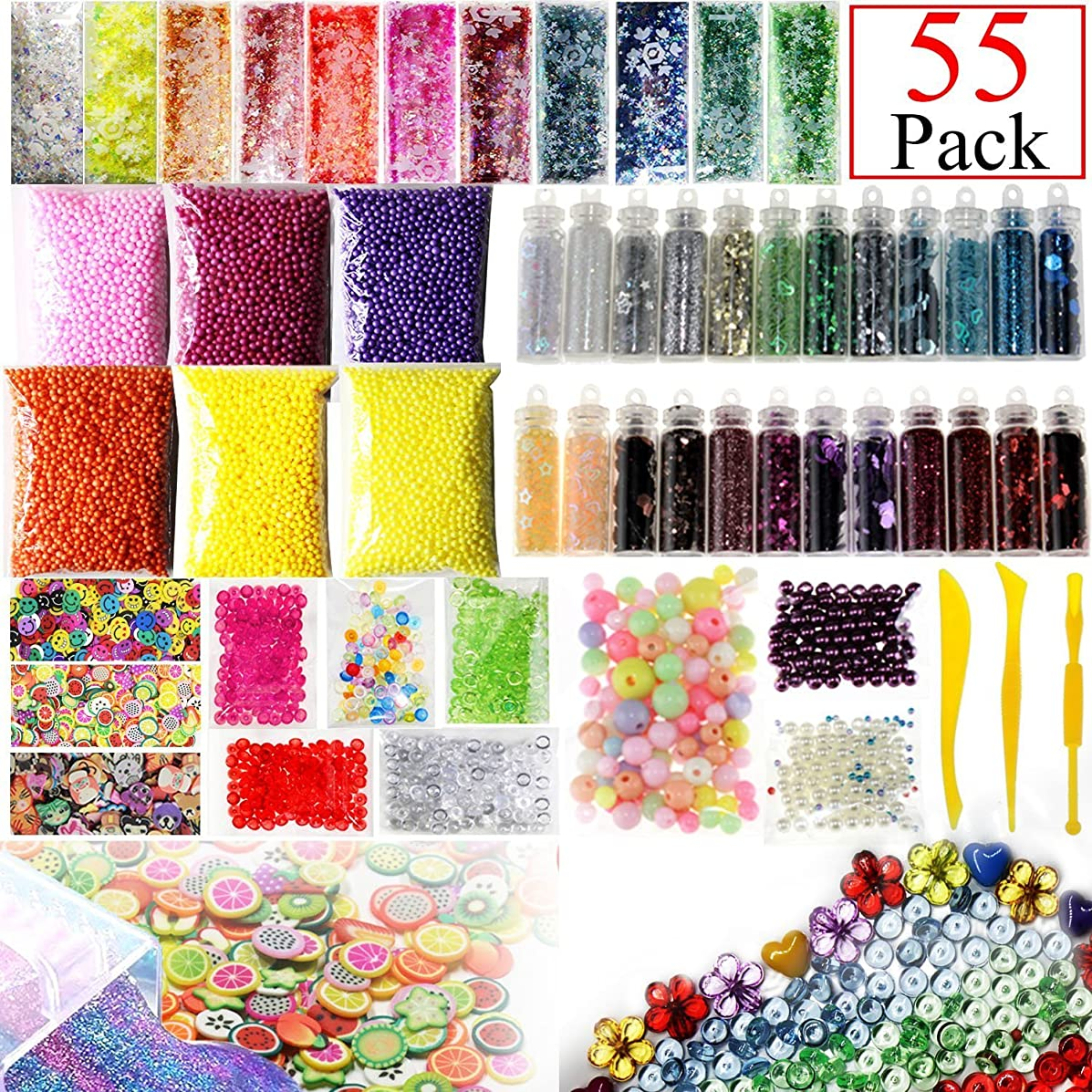 55 Pack Slime Supplies Kit Include Fishbowl beads, Foam Balls, Glitter Jars, Fruit Flower Animal Slices, Pearls, Slime Tools Slime Beads Charms for DIY Slime Making Art Craft Party Decor