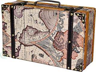 Vintiquewise(TM) Old World Map Suitcase/Decorative Box
