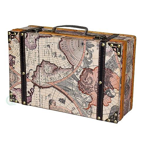 Vintiquewise(TM) Old World Map Suitcase/Decorative Box