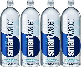 Glacéau Smartwater, Vapor Distilled Water And Electrolytes For Taste, 1.5L Bottled Water (Pack of 4, Total of 202.8 Fl Oz)