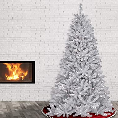National Tree Company Artificial Christmas Tree | Includes Pre-strung White Lights and Stand | With Glitter Branches | North
