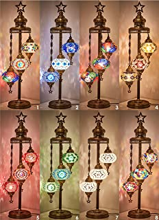 Turkish Moroccan Mosaic Glass Handmade Tiffany Floor Lamp Light, 29.5