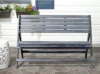 Safavieh Outdoor Collection Luca Ash Grey Folding Bench