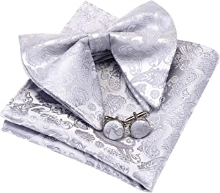 GUSLESON Fashion Paisley Adjustable Pre-tied Big Bow Tie and Pocket Square Cufflink Set with Gift Box