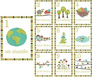 Spanish Number Woodland Counting Wall Cards, Set of Ten 5x7 Nature Themed Wall Art Prints, Forest Animal Nursery, Gender Neutral, Woodland Nursery