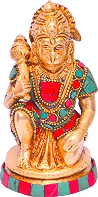 Purpledip Lord Hanuman/Bajrangbali (Hindu Religious God) Idol in Pure Brass with magnificient Stonework for Table Top, Home Temple (10644)
