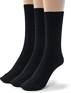 Silky Toes 3 or 6 Pk Womens Textured Bamboo Crew Socks, Designed Dress and Casual Socks