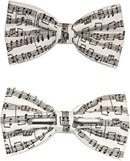 Men's Musical Notes Sheet Music Black/White Clip On Cotton Bow Tie