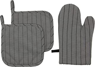 Mia'sDream 100% Cotton Oven Mitt & Pot Holders Kitchen Quilted Oven Gloves,Hot Pan Mat Pads Set for Cooking Grilling Barbeque Baking Heat Resistant Set of 3 (Dark Grey Stripes)