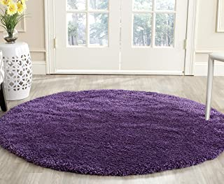 Safavieh Milan Shag Collection SG180-7373 Purple Round Area Rug (3' Diameter)