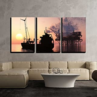 wall26 - 3 Piece Canvas Wall Art - Silhouette Tanker and Plant for The Extraction of Oil. - Modern Home Decor Stretched and Framed Ready to Hang - 16