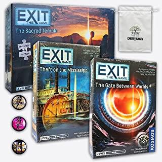 Great Set of Escapes Games Experience Board Games Exit: Theft On The Mississippi, The Gate Between Worlds, The Sacred Temp...