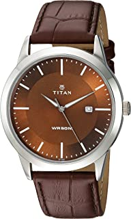 Titan Men's 'Neo' Classique Fashion/Casual/Business/Luxury Mineral Quartz Dial -Leather/Brass and Silver Toned Strap
