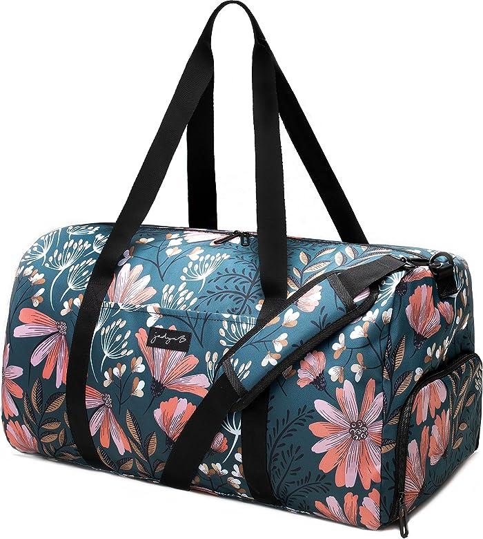 """Jadyn B 22"""" Women's Large Duffel/Weekender Bag with Shoe Pocket (Navy  Floral): Buy Online at Best Price in UAE - Amazon.ae"""