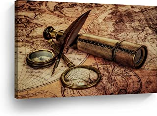 Old World Map Vintage Testament Compass Canvas Print Retro Decor Decorative Art Modern Wall Décor Artwork Living Room Office Wrapped Framed- Ready to Hang -%100 Handmade in The USA - 8x12