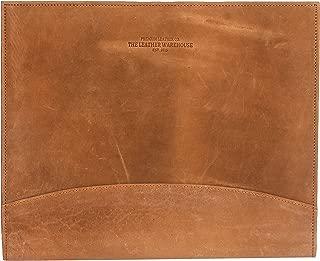 The Leather Warehouse Men/Women Handmade Office Folder Multipurpose Cow Leather Padfolio/Resume Portfolio Folder - Interview/Legal Document Organizer & Business Card Holder Brown