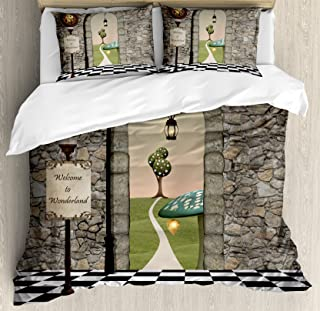 Ambesonne Alice in Wonderland Duvet Cover Set, Welcome Wonderland Black and White Floor Landscape Mushroom Lantern, Decorative 3 Piece Bedding Set with 2 Pillow Shams, Queen Size, Black Green