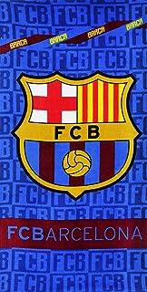FC Barcelona Streifen Handtuch Vereinslogo Kinder Bade Strandtuch Offiziell Neu