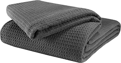 Glamburg 100% Cotton Thermal Blanket, Breathable Bed Blanket Queen Size, Soft Waffle Blanket, Queen Blanket, All Season Cotton Blanket, Charcoal