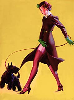 A SLICE IN TIME 1940s Pin-Up Girl Walking The Scottish Terrier Puppy Dog Vintage Picture Poster Pin Up Print Art. Measures 10 x 13.5 inches