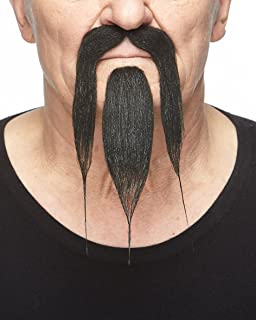 Mustaches Self Adhesive, Novelty, Shaolin Fake Beard and Fake Mustache, False Facial Hair, Costume Accessory for Adults