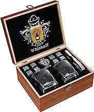 Whiskey Glass Set of 2 - Whiskey Stones Gift Set - Scotch Bourbon Glasses - Whisky Rocks Chilling Stones in Wooden Box - Burbon Gift Set Idea for Wisky Lovers Men – Rocks Glasses Stone Set in Gift Box