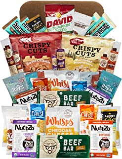 Keto Snack Box (40 Count)-Ultra Low Carb Snacks-Ketogenic Friendly, Gluten Free, Low Sugar Healthy Keto Gift Box Variety Pack - Protein Bars, Pork Rinds, Cheese Crisps, Nut, Jerky, and More