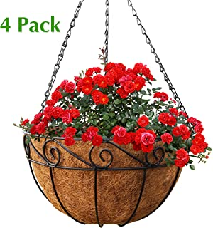 Metal Hanging Planter Basket with Coco Liner, 4 Pack, 14 in Diameter, Hanging Flower Pot, Round Wire Plant Holder, Watering Basket, Chain Porch Decor, for Lawn, Patio, Garden, Deck
