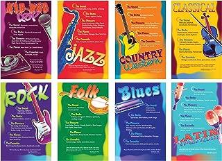 North Star Teacher Resource NST3059 Music Genres Bulletin Board Set, Set of 8 Posters