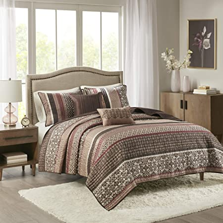 """Madison Park Reversible Quilt Luxury Jacquard Design All Season, Breathable Coverlet Bedspread Bedding Set, Matching Shams, Decorative Pillow, Full/Queen(90""""x90""""), Princeton, Red, 5 Piece"""