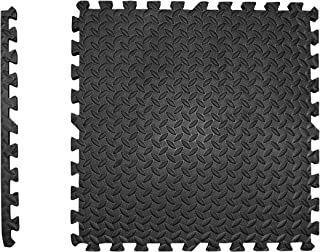 Edukit EXTRA THICK Foam Mat; 4 Pieces and 8 Edges; 60 x 60cm; 2cm Thick; Black; Interlocking Puzzle Floor Tiles Gym Floori...