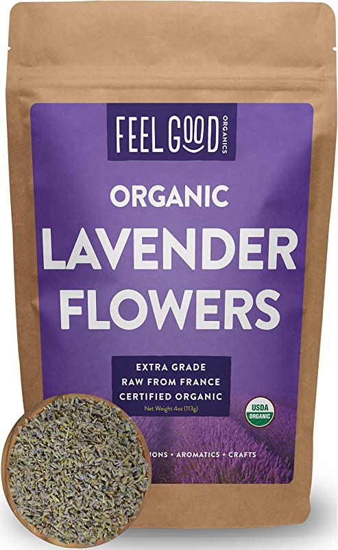 Organic Lavender Flowers Dried Perfect For Tea Baking Lemonade DIY Beauty Sachets Fresh Fragrance 100 Raw From France Large 4oz Resealable Bag By Feel Good Organics