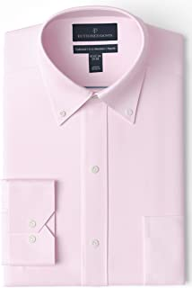 Buttoned Down Amazon Brand Men's Tailored Fit Button-Collar Solid Pinpoint Dress Shirt, Supima Cotton Non-Iron