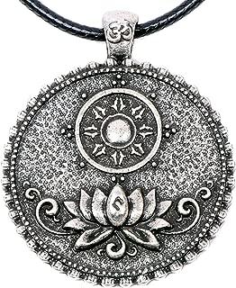 Om Lotus Mandala Necklace Pendant Tibetan Buddhist Dharma Wheel Meditation Yoga Inspired Bohemian Boho Jewelry