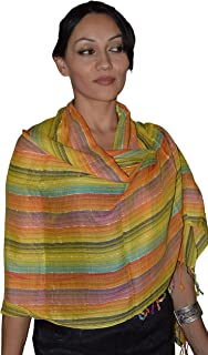 Moroccan Shoulder Shawl Breathable Cotton Oblong Head Scarf Silky Soft Exquisite Wrap Yellow