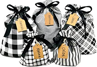 """Appleby Lane Fabric Gift Bags (Standard Set, Plaids & Stripes) Set of 5 100% Cotton Bags, Three 16""""x12"""" and Two 10""""x8"""""""