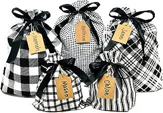 Appleby Lane Fabric Gift Bags (Standard Set, Plaids & Stripes) Set of 5 100% Cotton Bags, Three 16
