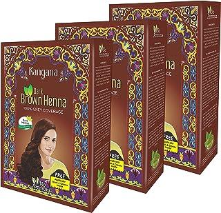 Kangana Henna Powder for Hair Dye / Colour - Dark Brown Henna Powder for 100% Grey Coverage- 6 pouches each - Total 180g (...