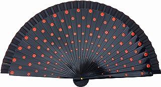 La Señorita Flamenco Fächer, Handfächer, Tanzfächer mit Punkten Holz Schwarz mit roten Punkten