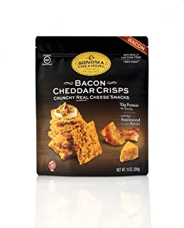 Sonoma Creamery Cheese Crisps - Bacon Cheddar Savory Cheese Cracker Snack High Protein Low Carb Gluten Free Wheat Free 10 Ounce (1 Count)