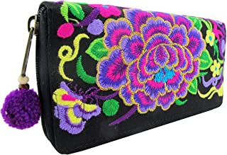 Hmong Wallet Hippie Boho Embroidered Tribal Clutch Purse for Women Handwoven with Zipper Pom Pom