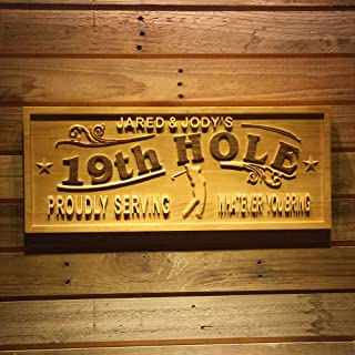 ADVPRO wpa0381 Name Personalized Golf 19th Hole Club House Decoration Gifts Wood Engraved Wooden Sign - Standard 23 x 9.25