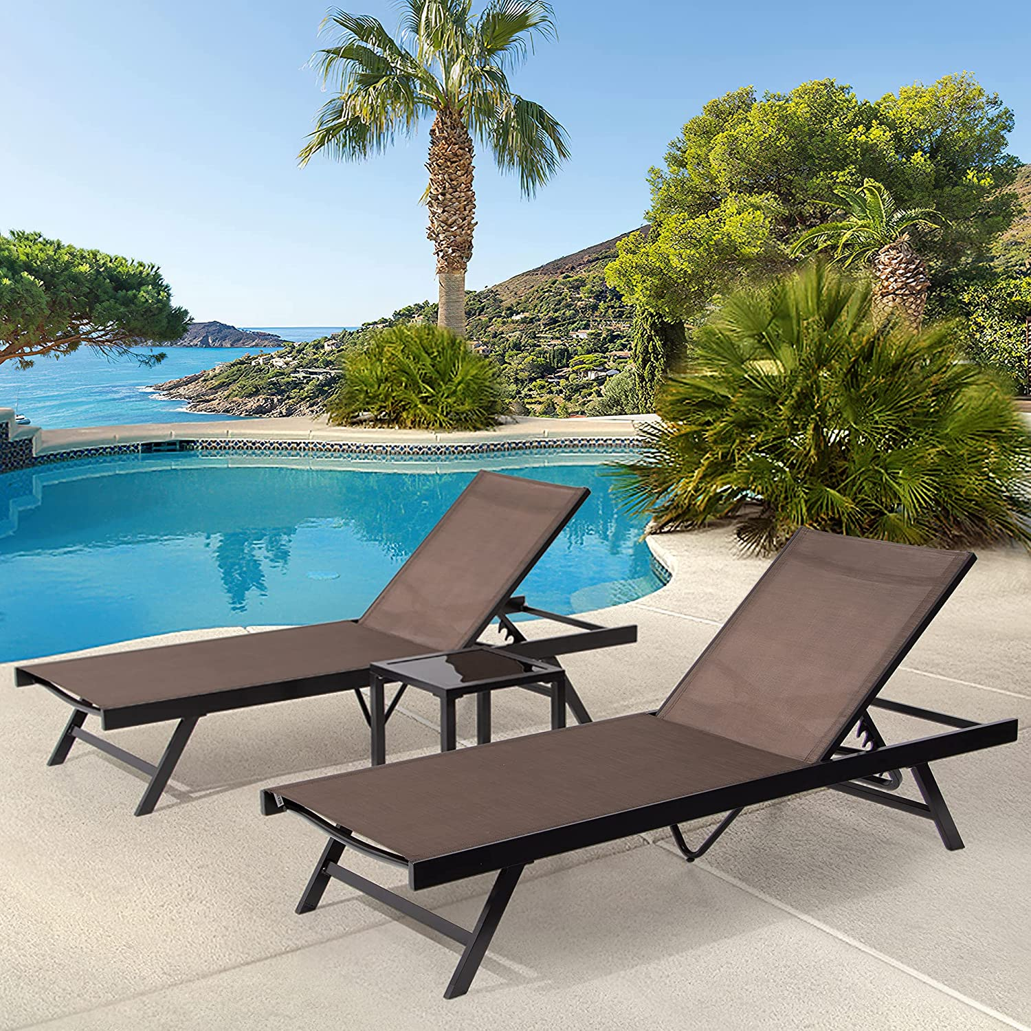 Ranking TOP17 Pellebant Adjustable We OFFer at cheap prices Aluminum Patio Chaise with Tab Lounge Chair