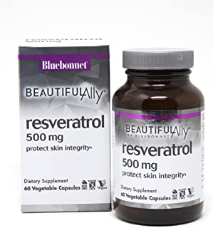 Bluebonnet Nutrition Beautiful Ally Resveratrol 500 mg Vegetarian Casules, 60 count