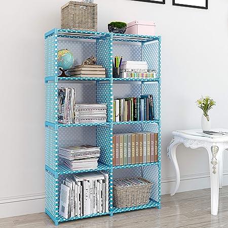 MemeHo® Bookshelf| Storage Shelve for Books Storage Organizer| Children Book Rack| Bookcase for Home Furniture |Cabinet Shelves for Bedroom Office Living Room (8 Cases, Blue)